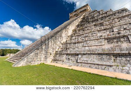 Mayan El Castillo Pyramid at the Archaeological Site in Chichen Itza, Mexico