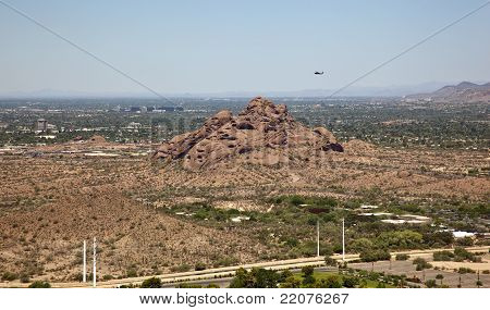 Helicopter over Papago Buttes