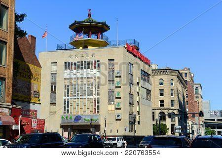 BOSTON - JUL. 4, 2016: Historic On Leong Chinese Merchants Association Building on Hudson Street in Chinatown, Boston, Massachusetts, USA.