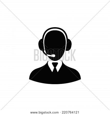 Callcenter Operator icon. Vector illustration flat style on white background.