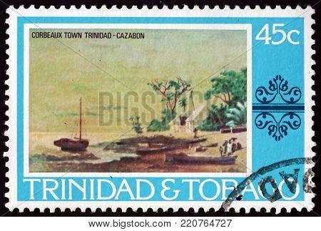 TRINIDAD AND TOBAGO - CIRCA 1976: a stamp printed in Trinidad and Tobago shows Corbeaux town, painting by Cazabon, circa 1976