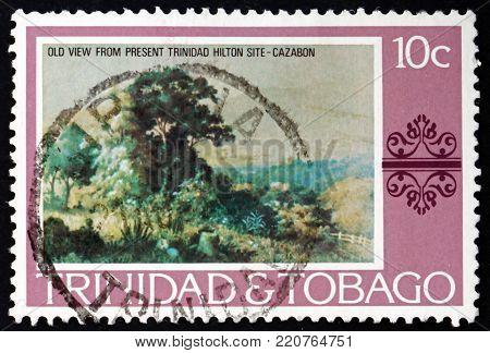 TRINIDAD AND TOBAGO - CIRCA 1976: a stamp printed in Trinidad and Tobago shows Old view from present Trinidad Hilton site, painting by Cazabon, circa 1976