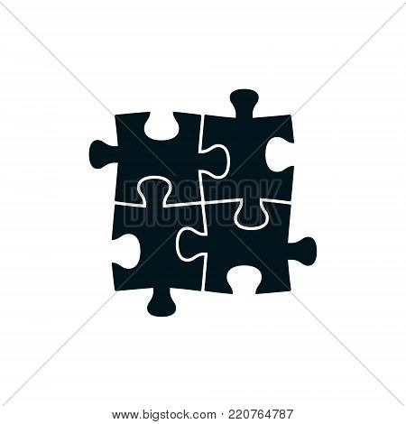 Four piece puzzle. Vector isolated black puzzle elements.