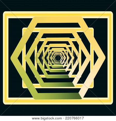 Golden, yellow with greenish retreating into infinity, an abstract tunnel, a rectangular and diamond shaped vout on a black background. Vector illustration.