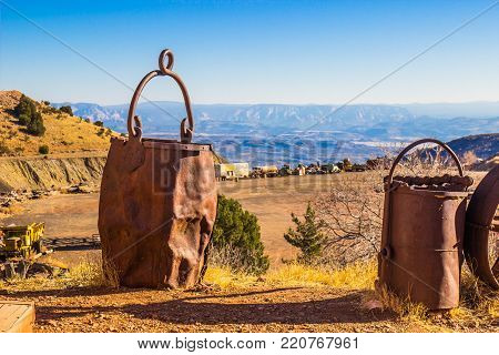 Two Vintage Ore Buckets Used In Mining Operations