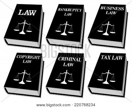 Law Books - One Color is an illustration of six law books used by lawyers and judges in black and white. They include books on law, bankruptcy law, business law, copyright law, criminal law, and tax law. Represents legal matters and legal proceedings. poster