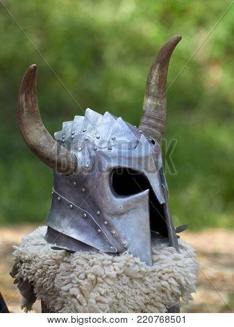 Medieval metal helmet