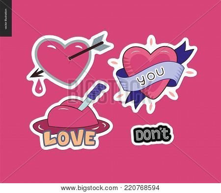 Set of contemporary girlie Love letter logo. A set of vector patches, logo and letter composition. Dont, Hearts with a ribbon, a knife and pierced with an arrow with dropping blood. Vector stickers kit.