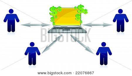 Wealth Distribution and online earnings illustration design