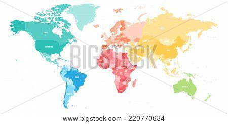 Colorful political map of World divided into six continent with country name labels. Vector map in rainbow spectrum colors.
