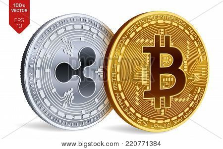 Bitcoin and Ripple. 3D isometric Physical coins. Digital currency. Cryptocurrency. Silver coin with ripple symbol and golden coin with bitcoin symbol isolated on white background. Vector illustration