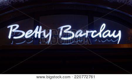 GIESSEN  GERMANY DECEMBER 2017: Illuminated Logotype of  BETTY BARCLAY.  BETTY BARCLAYGmbH & Co.KG is a women's outerwear company  based in Nußloch, Rheinland-Pfalz.