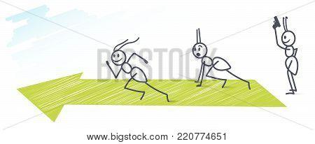 Three funny ants running hundred mater sprint