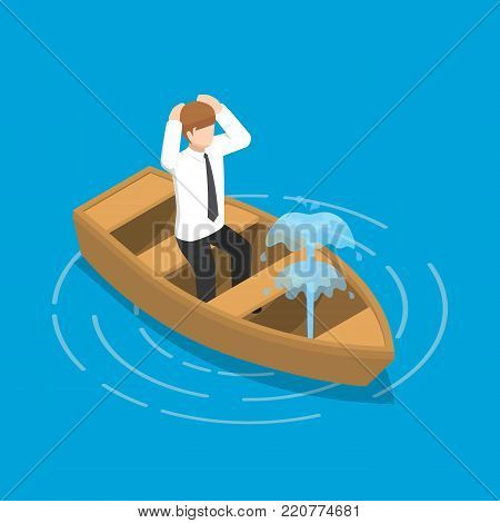 Isometric Businessman Sitting In Leaking Boat.