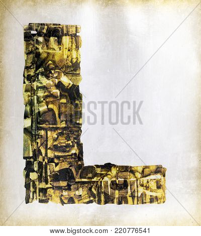 big uppercase letter    layers of metalic gold letters L