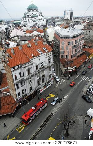 View on Vracar neighborhood in Belgrade on cloudy day, saint Sava temple