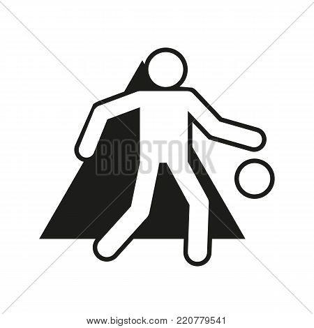 Triangle Block Basketball Dribbling Outline Sport Figure Symbol Vector Illustration Graphic Design