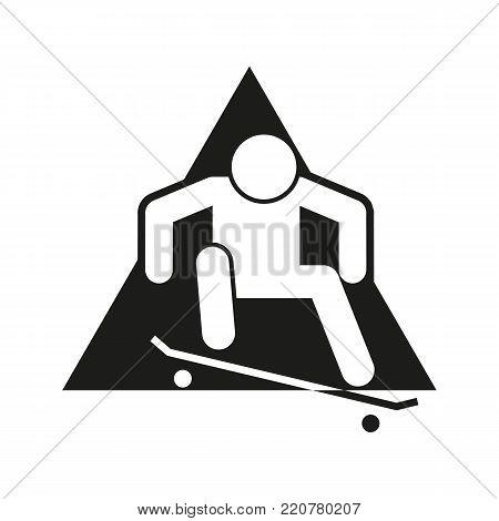 Skateboard Ollie Block Sport Outline Figure Symbol Vector Illustration Graphic Design