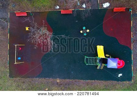 View of the playground from the top. Aerial photography.