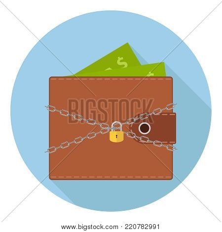 A wallet with money under protection. A chain with a lock protects the wallet with money. The concept of money safety. Flat design, vector illustration, vector.