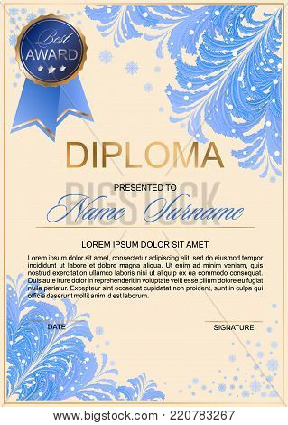 diploma in frosty style with beautiful patterns of frost and gold accents (certificate, letter of appreciation, letter of commendation)