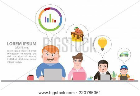 Coworking center. Vector illustration on white background