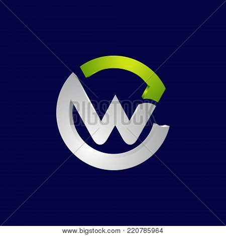 3d circle letter W Abstract Initial alphabet Logo design Template