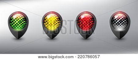 Collection of 4 map markers. Location icons. Semaphore. Black with traffic lights in 4 different colors. Isolated with realistic shine and shadow on the light background. Vector illustration. Eps10.