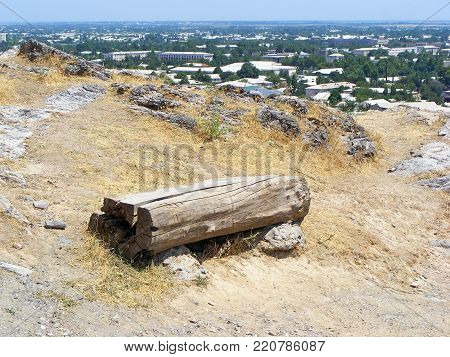 photography with scene design to pews from log on mountain on city