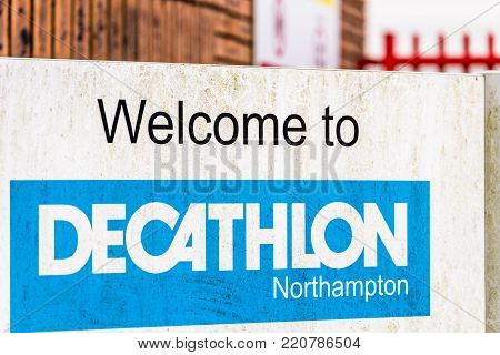 Northampton UK December 09, 2017: Decathlon Sports Gear and Equipment logo sign in Brackmills Industrial Estate.
