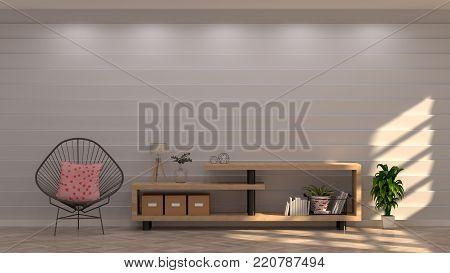 TV Cabinet and chairs in front of gray wall with decorative items in vintage empty room 3d rendering luxury living room modern mid century room interior home design