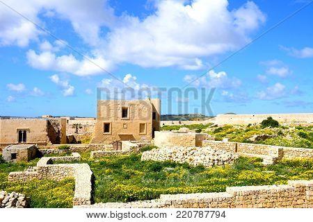VICTORIA, GOZO, MALTA - APRIL 3, 2017 - View of the buildings and wall ruins within the citadel, Victoria (Rabat), Gozo, Malta, Europe, April 3, 2017.