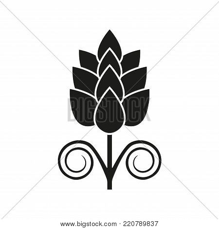 Hops icon isolated on white background. Hop beer sign. Vector illustration.