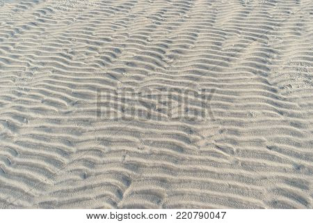 Lifeless alien landscape with sandy furrows on a surface