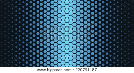 Abstract geometric pattern. Hipster fashion design print hexagonal pattern. Blue honeycombs on a black background. Vector Illustration.