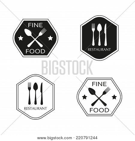 Restaurant and food emblem or label set with spoon, fork and knife flat icons. Kitchen utensils. Vector illustration.
