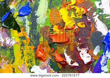 Painting, Canvas, Oil on canvas. Palette knife macro. Selective fragments of picture. Abstract close-up nature drawing. Bright colors of paints. Art Background.