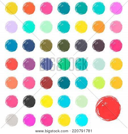 Watercolor blobs, stains, splashes. Set of colorful watercolor hand painted circles isolated on white. Bright watercolor colors.
