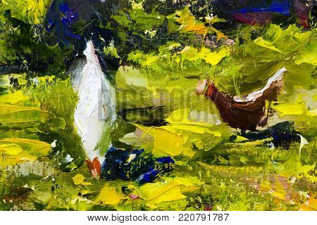 two chicken on green grass painting background vector illustration abstract. palette knife texture fragment Oil on canvas large macro sketch, watercolor