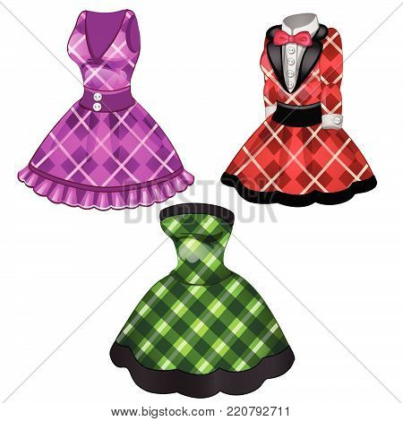 Three women's dresses isolated on white background. Vector cartoon close-up illustration.