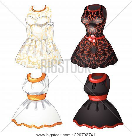 Black and white dress in retro style isolated on white background. Vector cartoon close-up illustration.