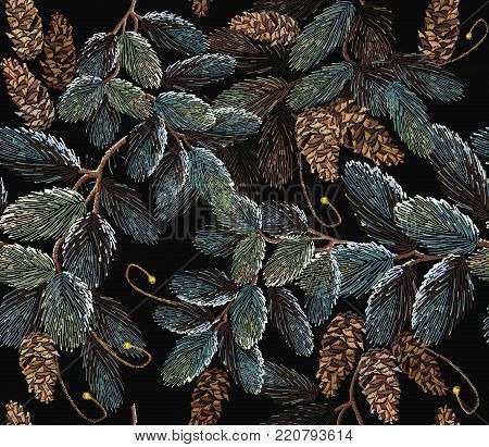 Winter art. Merry Christmas classical embroidery snow-covered branch of a fir-tree. Christmas art pattern. Clothes, textile design template. Embroidery fir-tree branch with cones