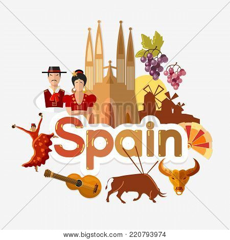 Travel to Spain. Traditions and culture, Welcome to Spain. Collection of symbolic elements. Template travel background