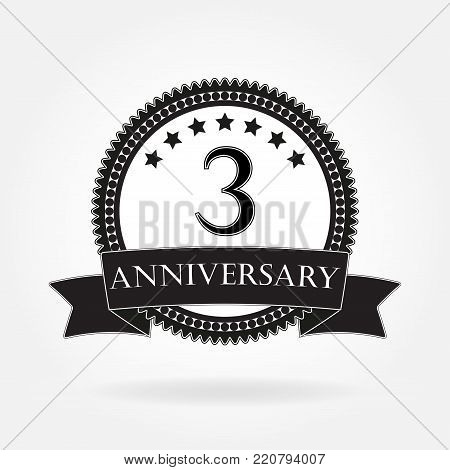3 years anniversary template with ribbon. 3th celebration emblem or icon. Vector illustration.