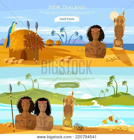 New Zealand banners. Village of aboriginals Maori. People of Maori, tradition and culture New Zealand. Mountains and beach landscape, natives