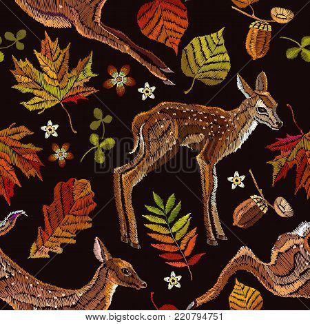 Embroidery deer, autumn seamless pattern. Fashionable template for design of clothes, t-shirt design. Classical september embroidery autumn leaves, fawn deer, oak and maple leaves