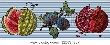 Embroidery watermelon, plum, pomegranate. Fashionable fruit stickers, patches. Classical embroidery ripe watermelon, plum branch, red pomegranate