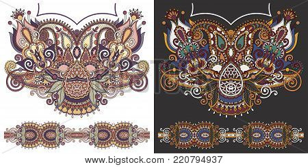 neckline embroidery fashion design to print on fabric, ethnic floral pattern, vector illustration poster