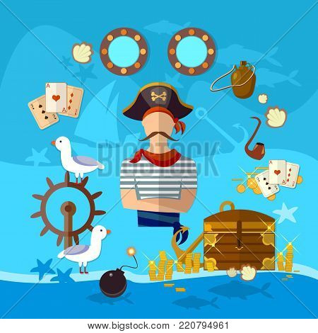 Pirate cartoon old map pirate treasure on the ocean floor vector