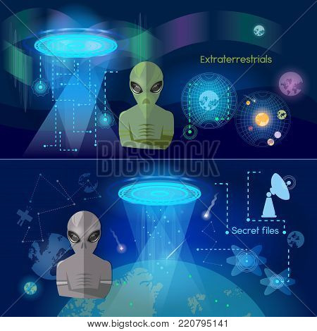 UFO banner, aliens in space secret files kidnapping extraterrestrial beings, alien spaceship vector
